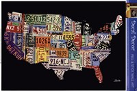 USA License Map Wall Decal