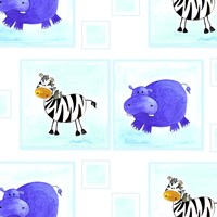 Zebras and Hippos Fine-Art Print