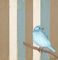 Teal Bird With Stripes Fine-Art Print