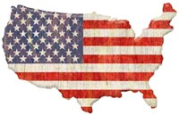 American Flag Continent Cut Out Fine-Art Print