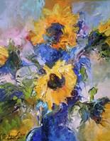 Sunflowers In Blue Vase Fine-Art Print