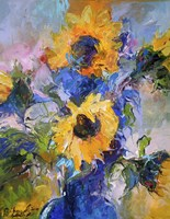 Sunflowers In Blue Vase Fine-Art Print