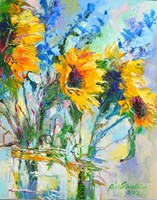 Sunflowers In Glass Bottles Fine-Art Print