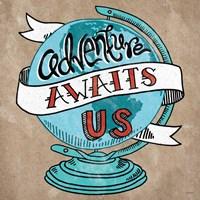 Adventure Love Globe Taupe Fine-Art Print