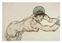Reclining Female Nude with Green Cap, Leaning to the Right, 1914 Fine-Art Print
