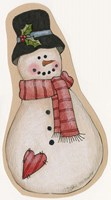 Red Scarf Snowman With Black Hat Fine-Art Print