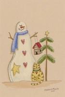Snowman With Cat Fine-Art Print
