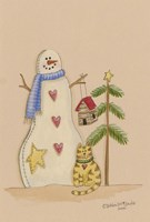 Snowman With Cat Fine-Art Print