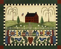 Red House With Quilts Fine-Art Print
