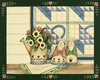 Bunnies, Watering Can With Quils Fine-Art Print