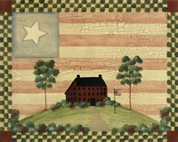 Red House With Flag Fine-Art Print