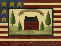 Red House With Flag Border Fine-Art Print