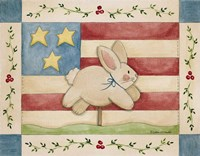 Bunny With Flag Background Fine-Art Print