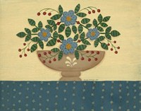 Lt. Blue Flowers With Dark Blue Talecloth Fine-Art Print