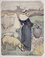 Breton Woman on her Farm in Pont-Aven Fine-Art Print