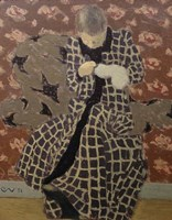 Woman Mending Fine-Art Print
