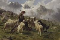 Shepherd Boy in the Pyrenees Offering Salt to his Sheep, 1864 Fine-Art Print