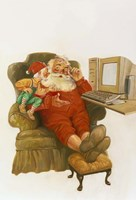 Santa Learning Computer Fine-Art Print
