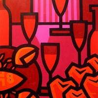 Poppies Apples Wine And Fish Fine-Art Print