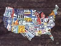 USA License Plate Map Fine-Art Print