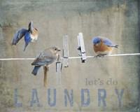 Laundry Day Bluebirds Fine-Art Print