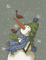 Snowman with Birds Fine-Art Print