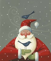 Santa with Bluebirds Fine-Art Print