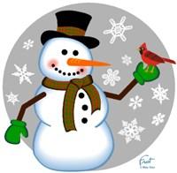 Snowman Cardinal Fine-Art Print