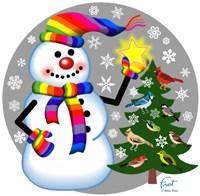 Snowman Bird Tree Fine-Art Print