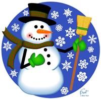 Snowman Broom Fine-Art Print