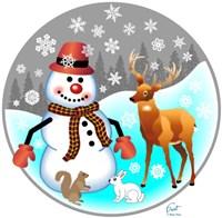 Snowman Forest Animals Fine-Art Print
