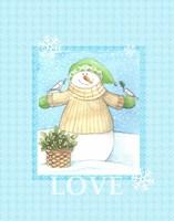 Snowman Dove Love Fine-Art Print