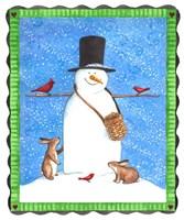 Snowman Black Hat Heart Border Fine-Art Print