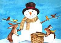 Snowman Bunnies Fine-Art Print