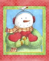 Snowman Give Heart Fine-Art Print