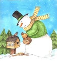 Snowman Green Bird Fine-Art Print