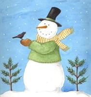 Snowman Green Blackbird Fine-Art Print