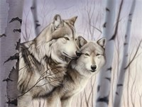 Two Wolves In The Birches Fine-Art Print
