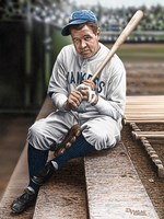 Babe Ruth Sitting on Top Step Fine-Art Print