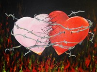 Hearts Together Crashing Hearts Fine-Art Print