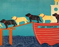 Island Ferry Champlain Black Yellow Fine-Art Print