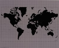 World Map - Black and Silver Fine-Art Print