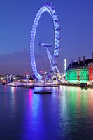 Millennium Wheel, London County Hall, Thames River, London, England Fine-Art Print