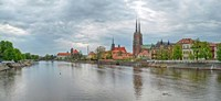 Oder river and Cathedral island in Wroclaw, Poland Fine-Art Print