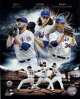2015 New York Mets Pitchers- Matt Harvey, Jacob deGrom, & Noah Syndergaard Portrait Plus Fine-Art Print