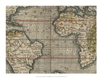 Antique World Map Grid V Fine-Art Print