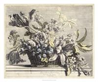 Vintage Basket of Flowers I Fine-Art Print