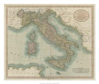 Vintage Map of Italy Fine-Art Print