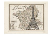 Eiffel Tower Map Fine-Art Print