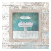 Framed Aqua Bath Sink Fine-Art Print
